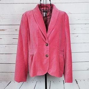J. Crew Pink Velvet Peplum Blazer Size 12